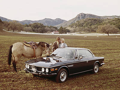 Photograph - Couple Standing Besides Car And Horse by Tom Kelley Archive