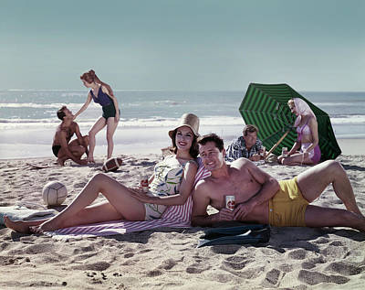 Photograph - Couples On The Beach by Tom Kelley Archive