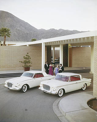 Photograph - Couples Standing Beside Cars by Tom Kelley Archive