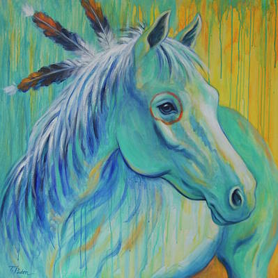 Wall Art - Painting - Courageous One - Indian War Horse by Theresa Paden