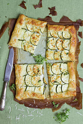 Zucchini Photograph - Courgette And Cheese Tart by Török-bognár Renáta