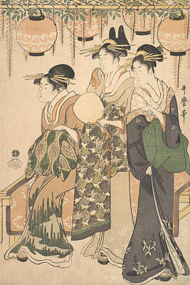 Relief - Courtesans Beneath A Wisteria Arbor by Kitagawa Utamaro