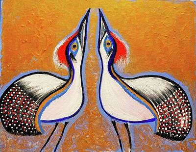 Ethereal - Courting Sandhill Cranes  by Chiquita Bowleg