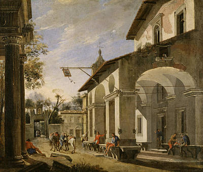 Painting - Courtyard Of An Inn With Classical Ruins by Viviano Codazzi