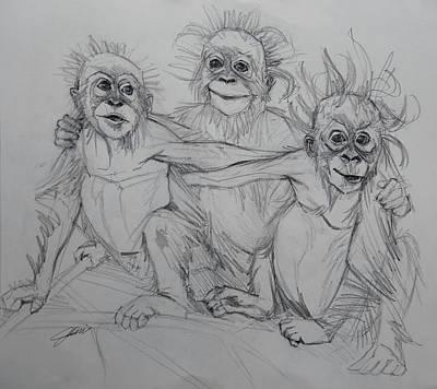 Drawing - Cousins Sketch by Jani Freimann
