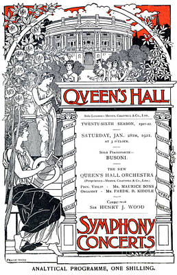 Drawing - Cover Of Program For Queens Hall by English School