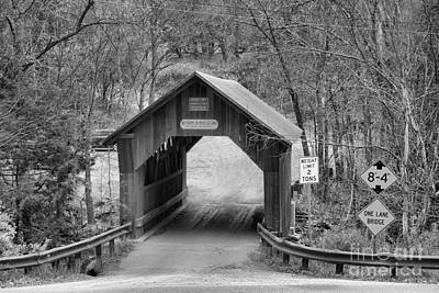 Photograph - Covered Bridfe Over Gold Brook Black And White by Adam Jewell