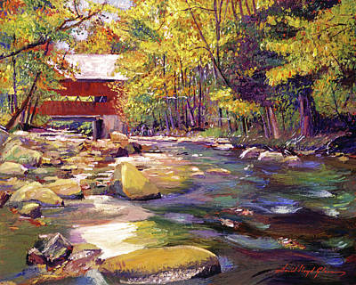 Painting - Covered Bridge In Vermont Autumn by David Lloyd Glover