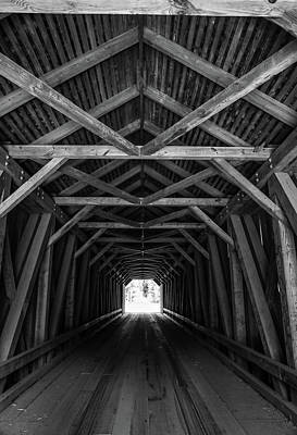 Photograph - Covered Bridge Interior Black And White by Dan Sproul