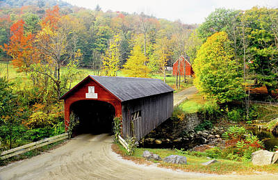 Vermont Photograph - Covered Bridge On Green River, Vermont by Danita Delimont