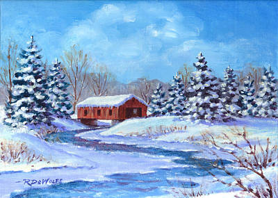 Painting - Covered Bridge Sketch by Richard De Wolfe