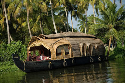 Kerala Photograph - Covered Houseboat In Backwaters by Jenny Acheson