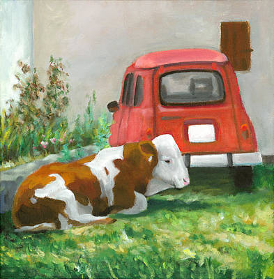 Painting - Cow And Car by Joe Maracic