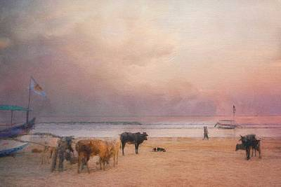 Photograph - Cow and Dog Conversation on the Beach by Caroline Jensen
