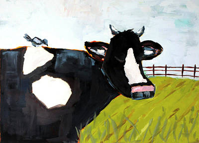 Wall Art - Painting - Cow And Magpie  by Kaley Alie