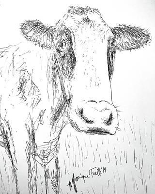 Drawing - Cow Doodle by Monique Faella