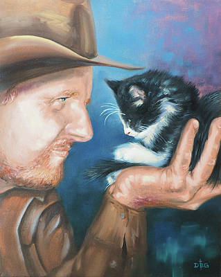 Painting - Cowboy And Kitten by David Bader