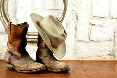 Traditional Clothing Photograph - Cowboy Boots And Hat. Austin Sandstone by Fstop123