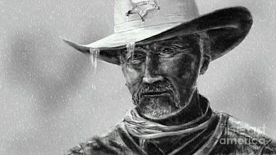 Digital Art - Cowboy Sheriff In Rain by Jan Brons