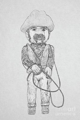 Digital Art - Cowboy With Lasso Sketch by Randy Steele