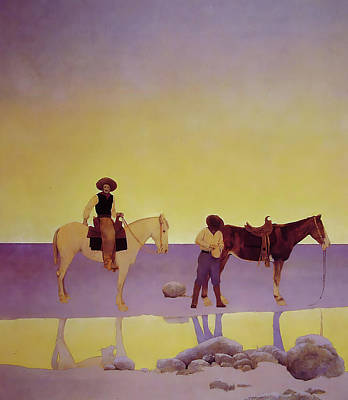 Photograph - Cowboys Hot Springs Arizona by Maxfield Parrish