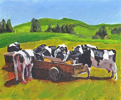 Painting - Cows In Field Feeding From Trough by Tina Lewis
