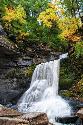 Art Print featuring the photograph Cowshed Falls At Watkins Glen State Park - Finger Lakes, New York by Lynn Bauer