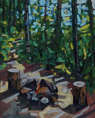 Painting - Cpaws Campfire by Phil Chadwick