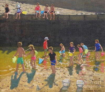 Painting - Crabbing In The Harbour, Bude, Cornwall by Andrew Macara
