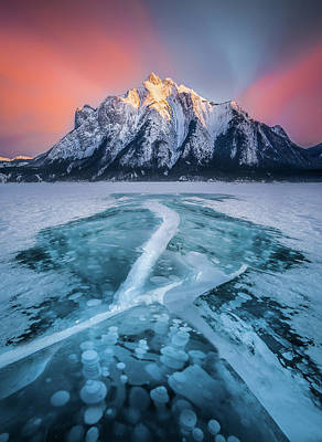 Photograph - Cracked / Abraham Lake, Canada  by Nicholas Parker