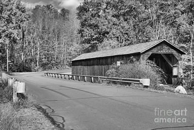 Photograph - Crane Brook Road Covered Bridge Black And White by Adam Jewell