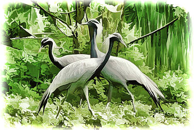 Painting - Cranes A18-66 by Ray Shrewsberry