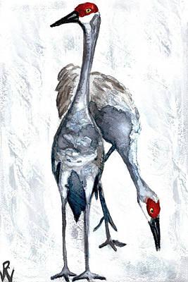 Painting - Cranes in the Rain by D Renee Wilson
