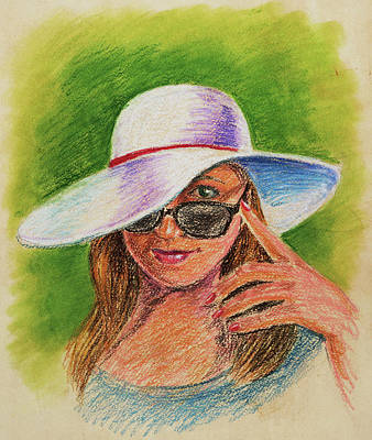 Drawing - Craving Summer Woman With A Hat by Irina Sztukowski