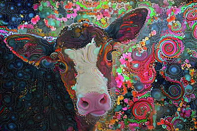 Digital Art - Crazy Colorful Cow by Peggy Collins