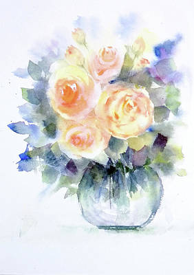 Painting - Cream Roses by Asha Sudhaker Shenoy