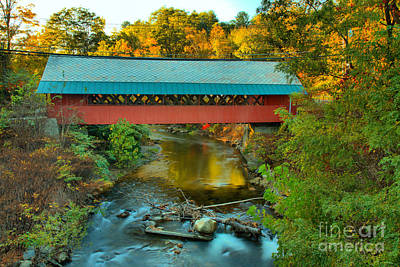 Photograph - Creamery Covered Bridge Fall Foliage by Adam Jewell