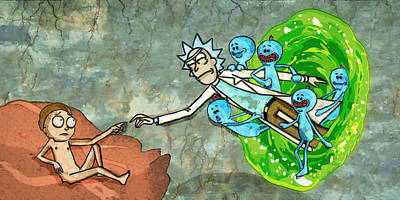 Rick Wall Art - Painting - Creation Of Morty by Rick And Morty