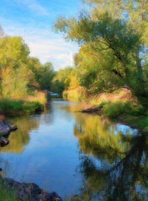 Photograph - Creek Lined With Colorful Fall Cottonwood Trees by Barbara Rogers Nature Inspired Art Photography