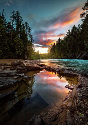 Photograph - Creekside Sunset / Mcdonald Creek, Glacier National Park  by Nicholas Parker