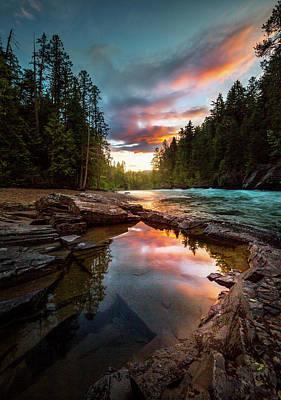 Photograph - Creekside Sunset / Mcdonald Creek, Glacier National Park  by Nicholas Parker