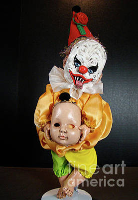 Sculpture - Creepy Clown by Cindy DeGraw
