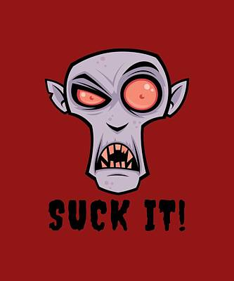 Royalty-Free and Rights-Managed Images - Creepy Vampire Cartoon with Suck It Text by John Schwegel