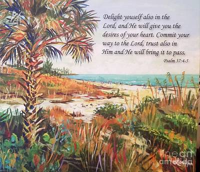 Painting - Crescent Beach with Psalm 37 by Lou Ann Bagnall