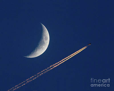 Photograph - Crescent Moon And Airliner by Kevin McCarthy