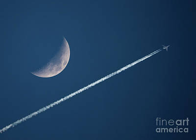 Photograph - Crescent Moon And Contrails by Kevin McCarthy