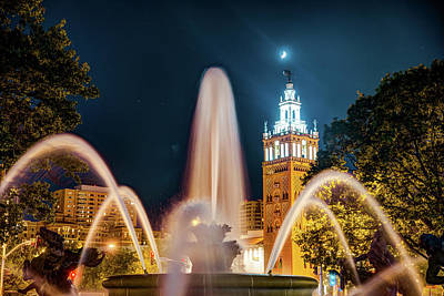 Photograph - Crescent Moon Over Giralda Tower And The J.c. Nichols Memorial Fountain by Gregory Ballos