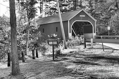 Photograph - Cresson Covered Bridge Black And White by Adam Jewell