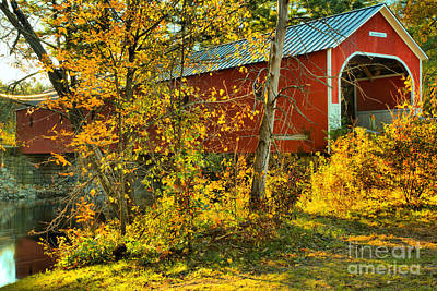 Photograph - Cresson Covered Bridge Fall Colors by Adam Jewell