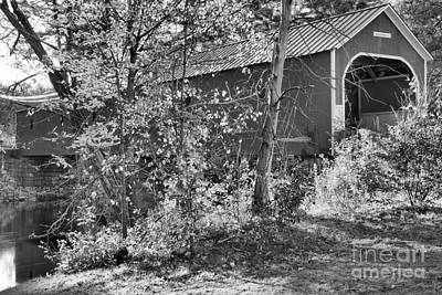 Photograph - Cresson Covered Bridge Fall Colors Black And White by Adam Jewell